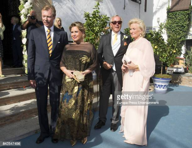 Enrique of Luxemburgo and Maria Teresa of Lusemburgo are seen attending the wedding of MarieGabrielle of Nassau and Antonius Willms on September 2...