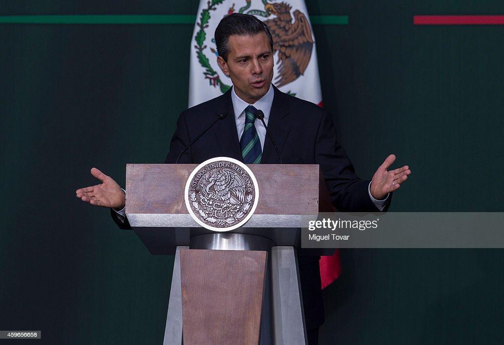 Enrique Peñ–a Nieto President of Mexico gives a speech to announce new security strategy plans at Palacio Nacional on November 27, 2014 in Mexico City, Mexico.