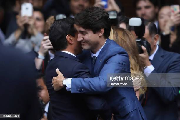 Enrique Peña Nieto President of Mexico greets Canadian Prime Minister Justin Trudeau during a meeting as part of the official visit of Canadian Prime...