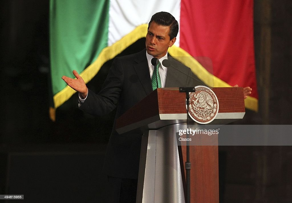 Enrique Peña Nieto President of Mexico speaks during a Mexico National Team Farewell Ceremony at Palacio Nacional de la Ciudad de México on May 27, 2014 in Mexico City, Mexico.