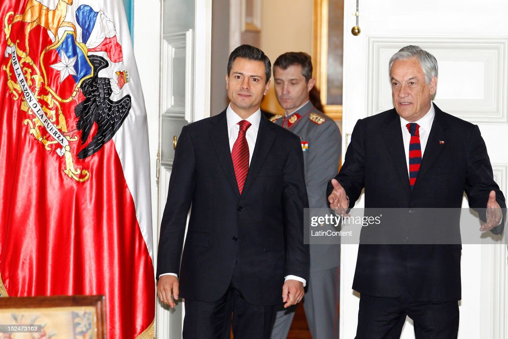 Enrique Peña Nieto, President-elect of Mexico , meets Chilean president Sebastian Piñera at Palacio de La Moneda during his visit to Chile on September 21, 2012 in Santiago, Chile.