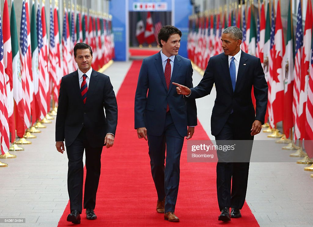 <a gi-track='captionPersonalityLinkClicked' href=/galleries/search?phrase=Enrique+Pena+Nieto&family=editorial&specificpeople=5957985 ng-click='$event.stopPropagation()'>Enrique Pena Nieto</a>, Mexico's president, from left, <a gi-track='captionPersonalityLinkClicked' href=/galleries/search?phrase=Justin+Trudeau&family=editorial&specificpeople=2616495 ng-click='$event.stopPropagation()'>Justin Trudeau</a>, Canada's prime minister, and U.S. President <a gi-track='captionPersonalityLinkClicked' href=/galleries/search?phrase=Barack+Obama&family=editorial&specificpeople=203260 ng-click='$event.stopPropagation()'>Barack Obama</a> arrive at the National Gallery of Canada for the North American Leaders Summit (NALS) in Ottawa, Ontario, Canada, on Wednesday, June 29, 2016. Leaders from the three Nafta nations 'agree on the need for governments of all major steel-producing countries to make strong and immediate commitments to address the problem of global excess steelmaking capacity,' according to a statement from Trudeau. Photographer: Cole Burston/Bloomberg via Getty Images