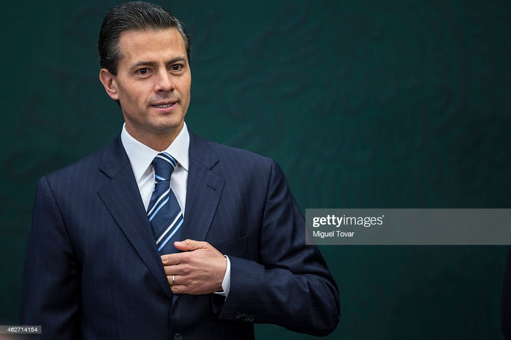 Enrique Pena Nieto President of Mexico attends during a speech to announce new anti corruption strategy plans at Los Pinos on February 03, 2015 in Mexico City, Mexico.