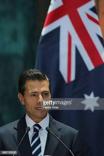 Enrique Pen–a Nieto President of Mexico during an official visit at Palacio Nacional on August 01 2016 in Mexico City Mexico