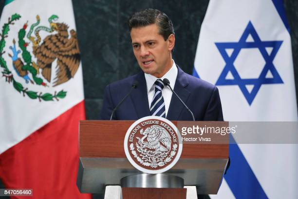 Enrique Pena Nieto President of Mexico gives an speech during a meeting as part of the official visit of Israeli Prime Minister Benjamin Netanyahu to...