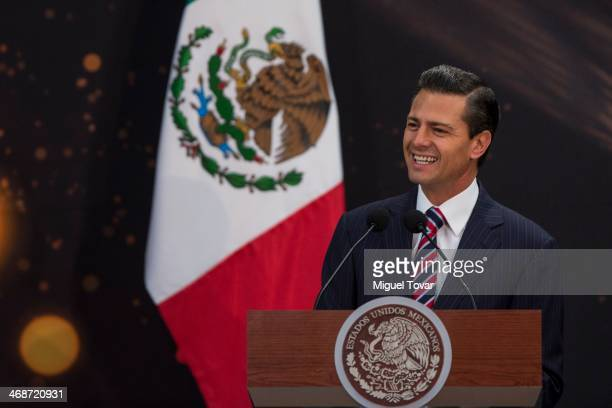 Enrique Pe–na Nieto President of Mexico talks during the FIFA World Cup Trophy presentation as part of the FIFA World Cup Trophy Tour on February 11...