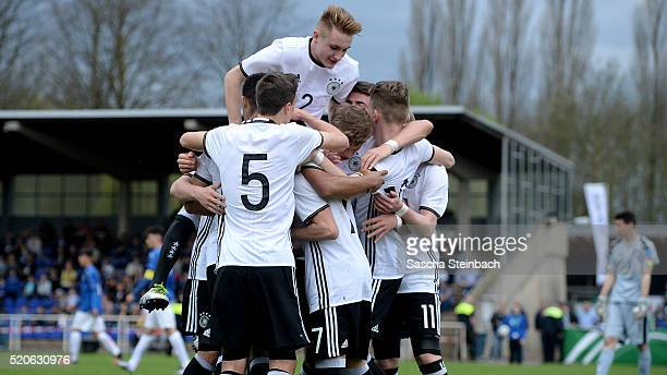 Enrique Pena Zauner of Germany celebrates with team mates after scoring his team's first goal during the U16 international friendly match between...