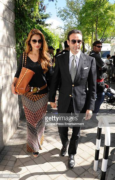 Enrique Ponce and Paloma Cuevas attend the funeral chapel for Isidoro Alvarez president of El Corte Ingles who died at 79 aged on September 15 2014...