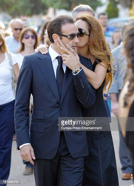 Enrique Ponce and Paloma Cuevas attend the funeral for Leandro Martinez the grandfather of bullfighter Enrique Ponce on September 1 2013 in Valencia...