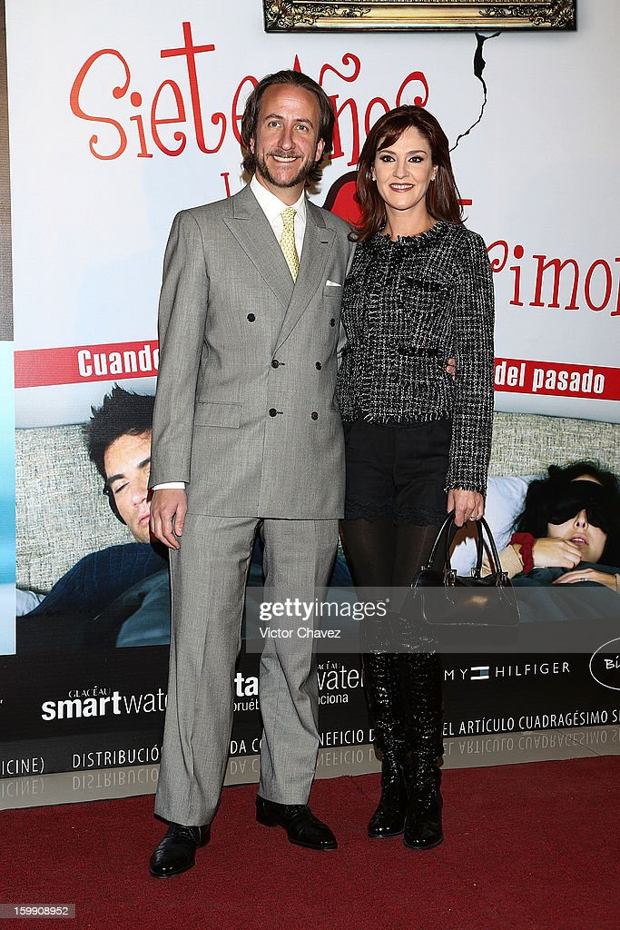 Enrique Rivero Lake and actress Chantal Andere attend the '7 Años de Matrimonio' Mexico City premiere red carpet at Plaza Carso on January 22, 2013 in Mexico City, Mexico.