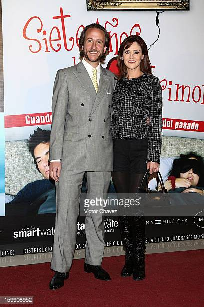 Enrique Rivero Lake and actress Chantal Andere attend the '7 Años de Matrimonio' Mexico City premiere red carpet at Plaza Carso on January 22 2013 in...