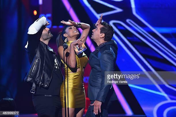 Enrique Santos Francisca Lachapel and Rodolfo 'El Chamo' Soules speak onstage at Univision's Premios Juventud 2015 at Bank United Center on July 16...
