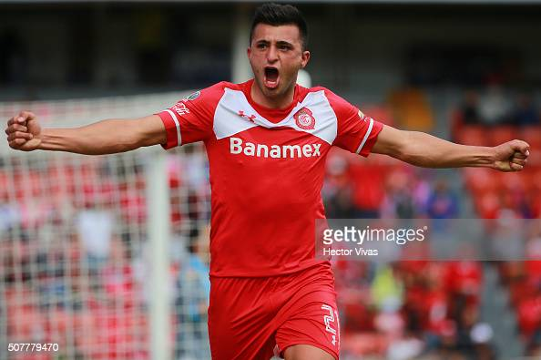 Enrique Triverio of Toluca celebrates after scoring the first goal of his team during the fourth round match between Toluca and Puebla as part of the...