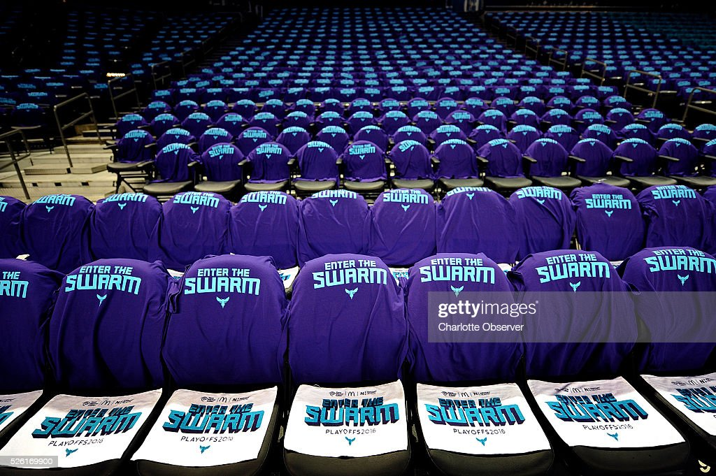 ''Enter the Swarm'' t-shirts and towels await fans as the Charlotte Hornets play host to the Miami Heat in Game 6 of the Eastern Conference quarterfinals on Friday, April 29, 2016, at Time Warner Cable Arena in Charlotte, N.C.