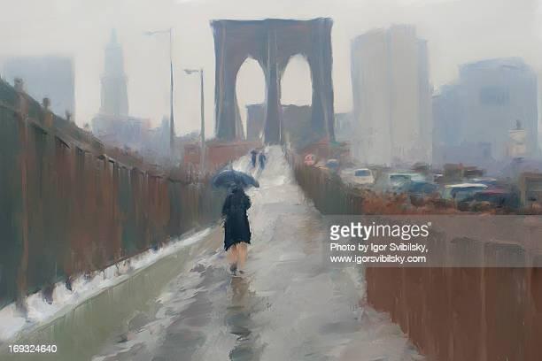 Entering Brooklyn Bridge on a Rainy Day