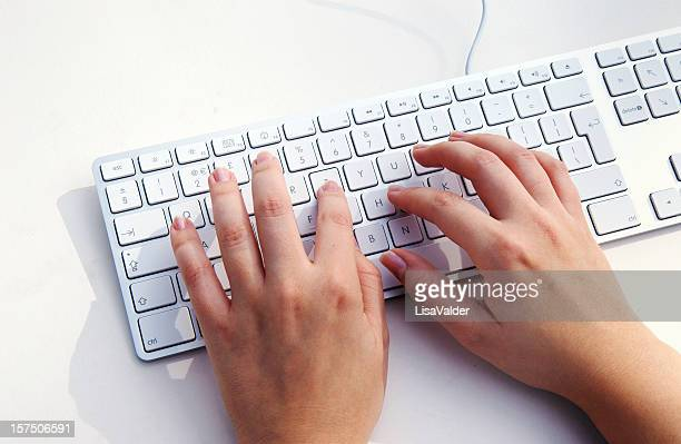 Entering data on a computer through the keyboard