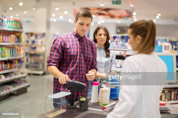 Entering PIN in supermarket