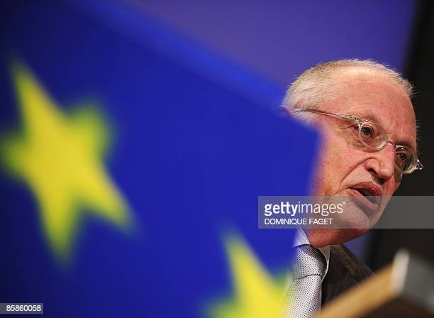 EU enterprise and industry commissioner Guenter Verheugen gives a press conference on April 8 2009 on the Small Business Act with the European...