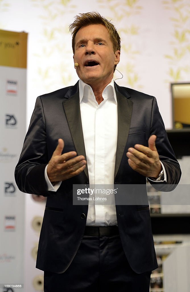 Entertainer and Singer Dieter Bohlen presents his wallpaper collection 'Dieter Bohlen - it's different' at the fair 'Heimtextil 2013' on January 10, 2013 in Frankfurt/Main, Germany. The self-proclaimed 'Poptitan' has launched its own wallpaper collection with the wallpaper manufacturer Pickhardt + Sieberthas from Gummersbach.