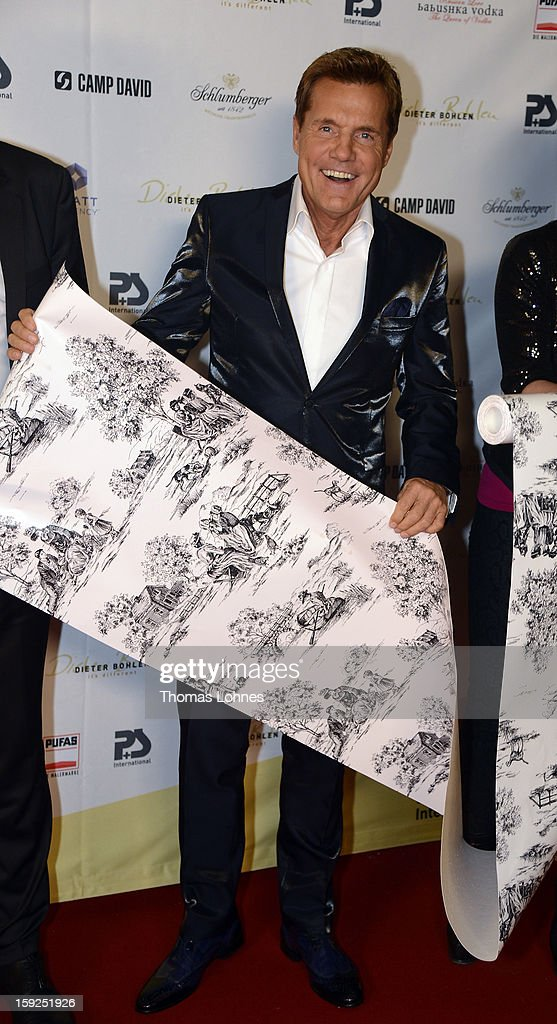 Entertainer and Singer Dieter Bohlen presents his wallpaper collection 'Dieter Bohlen - it's different' during a party in the restaurant 'Druckwasserwerk' in Frankfurt/Main on January 10, 2013 in Frankfurt am Main, Germany. The self-proclaimed 'Poptitan' has launched its own wallpaper collection with the wallpaper manufacturer Pickhardt and Sieberthas from Gummersbach.