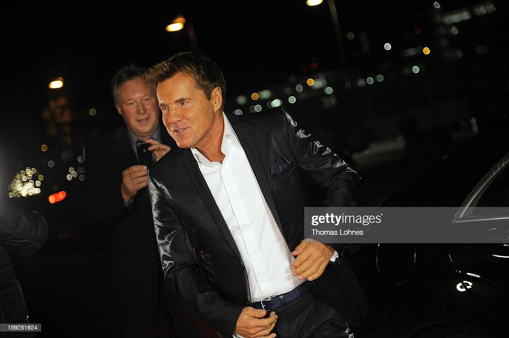 Entertainer and Singer Dieter Bohlen walks to presents his wallpaper collection 'Dieter Bohlen - it's different' during a party in the restaurant 'Druckwasserwerk' in Frankfurt/Main on January 10, 2013 in Frankfurt am Main, Germany. The self-proclaimed 'Poptitan' has launched its own wallpaper collection with the wallpaper manufacturer Pickhardt and Sieberthas from Gummersbach.