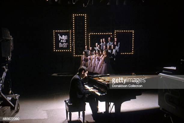 Entertainer Andre Previn on the TV show 'Perry Como's Kraft Music Hall' in New York