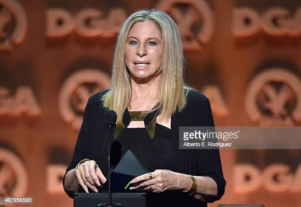 Entertainer Barbra Streisand speaks onstage at the 67th Annual Directors Guild Of America Awards at the Hyatt Regency Century Plaza on February 7...