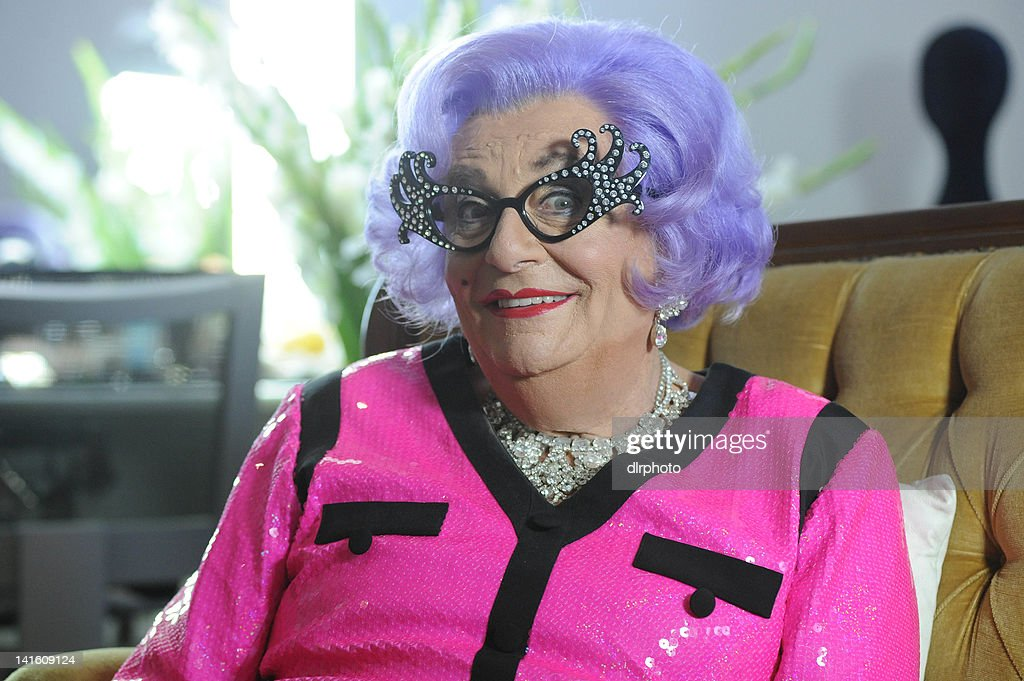 Entertainer <a gi-track='captionPersonalityLinkClicked' href=/galleries/search?phrase=Barry+Humphries&family=editorial&specificpeople=206650 ng-click='$event.stopPropagation()'>Barry Humphries</a>, in character as Dame Edne Everage, is interviewed backstage during a Bonds underwear event for 'The Birthday Project' campaign on February 15, 2012 in Sydney, Australia. The Bonds campaign, which Everage is a part of, aims to find one Australian born every day since the brand's inception on July 1, 1915, with Everage claiming Febraury 17, 1934. On March 19, Humphries launched his final farewell tour 'Eat Pray Laugh' which will see Humphries reprise his famous characters for the last time on tour.