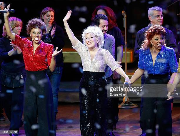 Entertainer Bette Midler and cast members take a curtain call at the end of the final performance of her show 'The Showgirl Must Go On' at The...