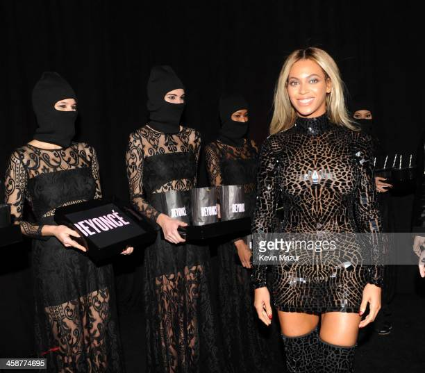 Entertainer Beyonce attends a release party and screening for her new selftitled album 'Beyonce' at the School of Visual Arts Theater on December 21...