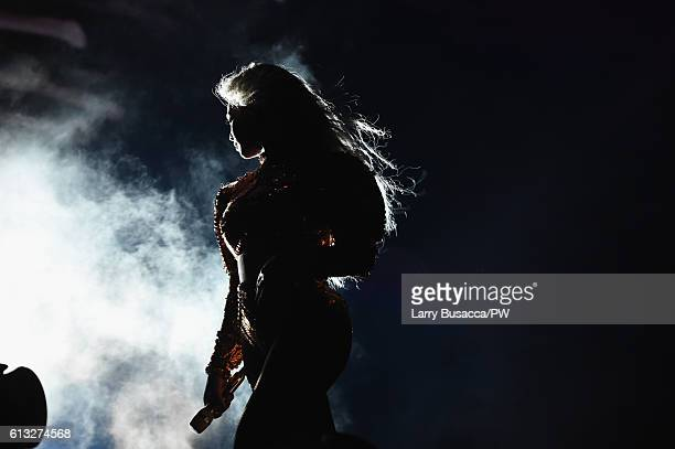 Entertainer Beyonce performs on stage during closing night of 'The Formation World Tour' at MetLife Stadium on October 7 2016 in East Rutherford New...