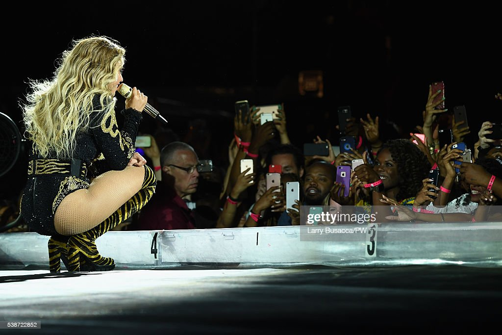 Entertainer Beyonce performs on stage during 'The Formation World Tour' at the Citi Field on June 7 2016 in the Queens borough of New York City