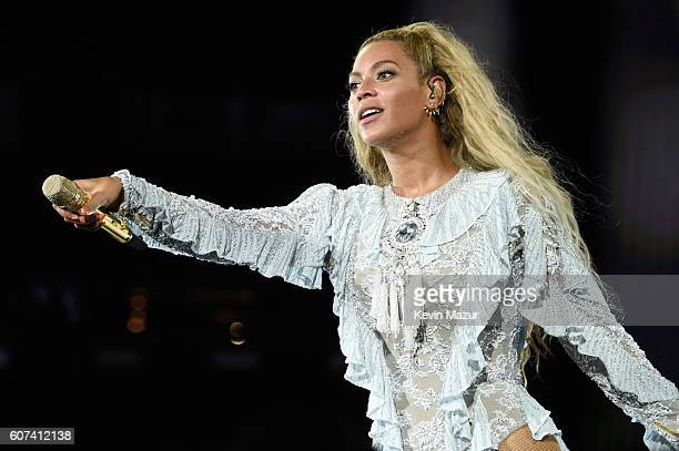 Entertainer Beyonce performs on stage during 'The Formation World Tour' at Levi's Stadium on September 17 2016 in Santa Clara California
