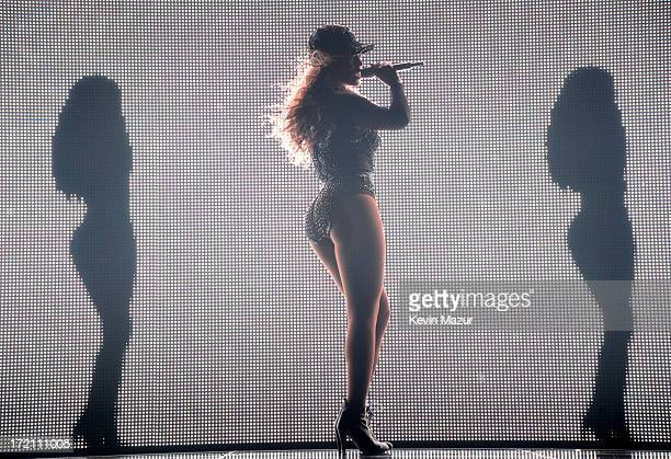 Entertainer Beyonce performs on stage during 'The Mrs Carter Show World Tour' at the Staples Center on July 1 2013 in Los Angeles California