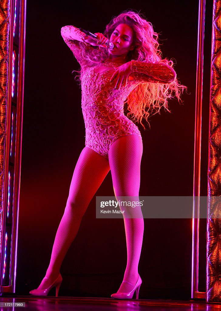 Entertainer Beyonce performs on stage during 'The Mrs. Carter Show World Tour' at the Staples Center on July 1, 2013 in Los Angeles, California.