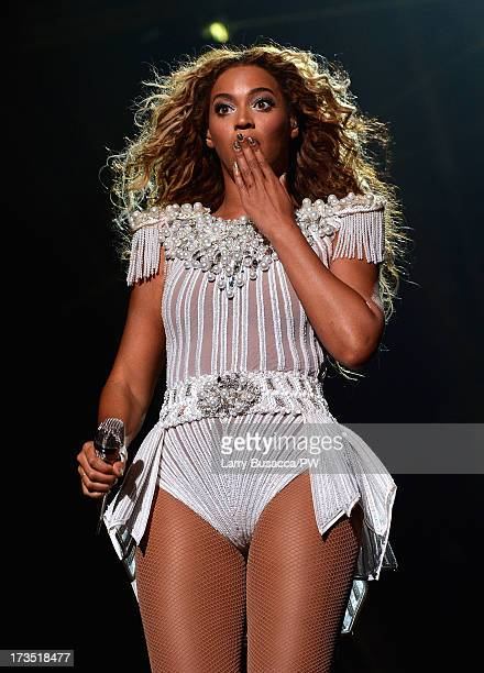 Entertainer Beyonce performs on stage during 'The Mrs Carter Show World Tour' at the Toyota Center on July 15 2013 in Houston Texas Beyonce wears a...