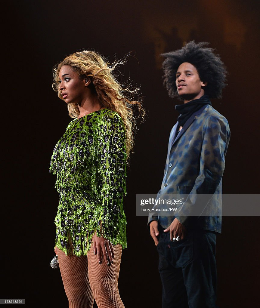 Entertainer Beyonce performs on stage during 'The Mrs. Carter Show World Tour' at the Toyota Center on July 15, 2013 in Houston, Texas. Beyonce wears a leopard-print fringed mini-dress by Pucci and hosiery by Capezio.
