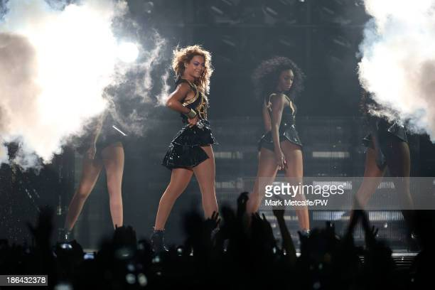 Entertainer Beyonce performs on stage during 'The Mrs Carter Show World Tour' at Allphones Arena on October 31 2013 in Sydney Australia