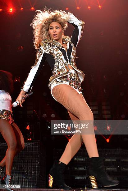 Entertainer Beyonce performs on stage during 'The Mrs Carter Show World Tour' at the Barclays Center on December 19 2013 in New York New York
