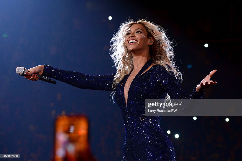 Entertainer Beyonce performs on stage during 'The Mrs. Carter Show World Tour' at the Barclays Center on December 19, 2013 in New York, New York.