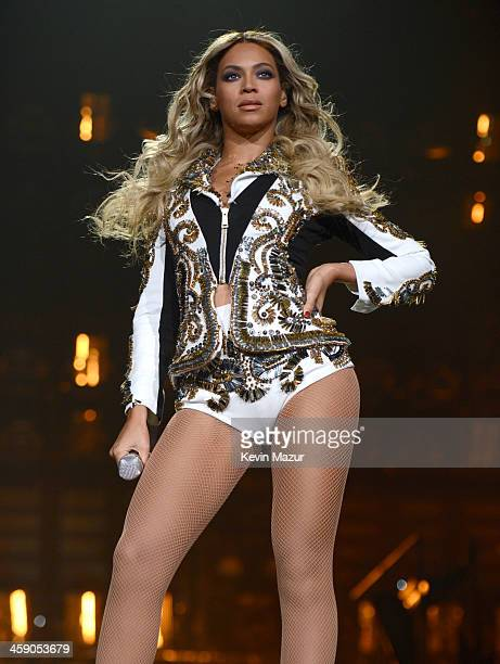 Entertainer Beyonce performs on stage during 'The Mrs Carter Show World Tour' at the Barclays Center on December 22 2013 in New York New York