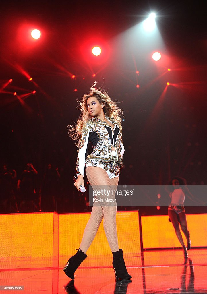 Entertainer Beyonce performs on stage during 'The Mrs. Carter Show World Tour' at the Barclays Center on December 22, 2013 in New York, New York.