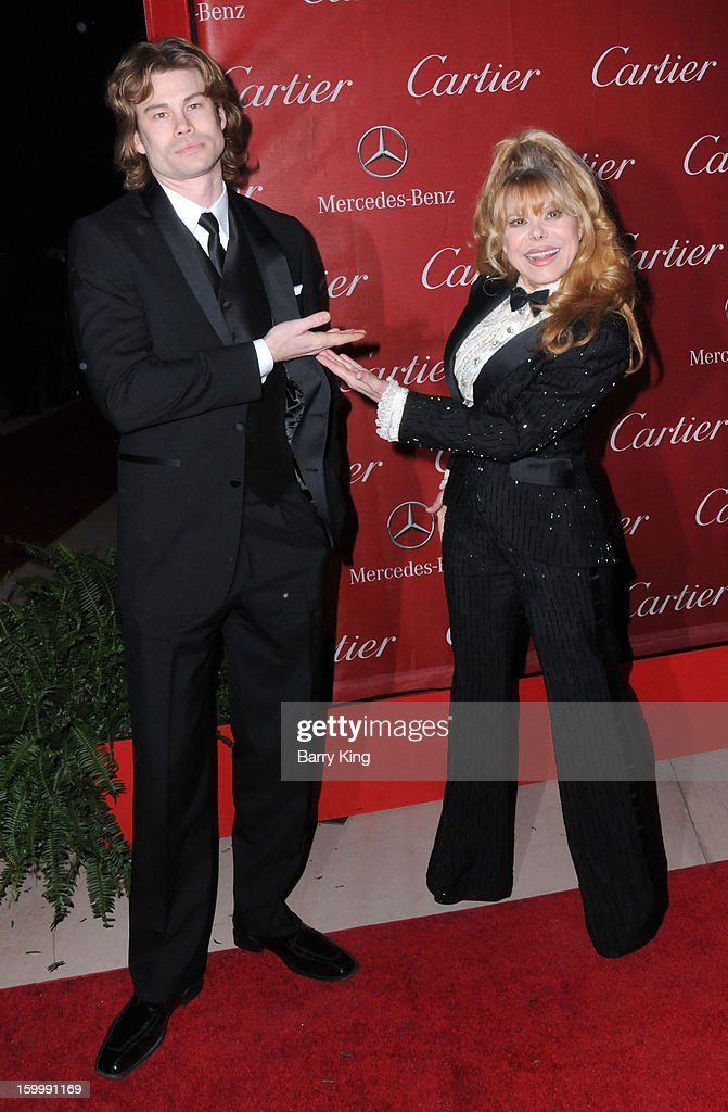 Entertainer <a gi-track='captionPersonalityLinkClicked' href=/galleries/search?phrase=Charo&family=editorial&specificpeople=242999 ng-click='$event.stopPropagation()'>Charo</a> (R) and her son actor Shel Rasten arrive at the 24th Annual Palm Springs International Film Festival Awards Gala at Palm Springs Convention Center on January 5, 2013 in Palm Springs, California.