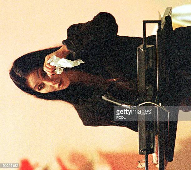 Entertainer Cher wipes her eyes during her eulogy to her former husband and partner Sonny Bono at the funeral service for the US Congressman 09...