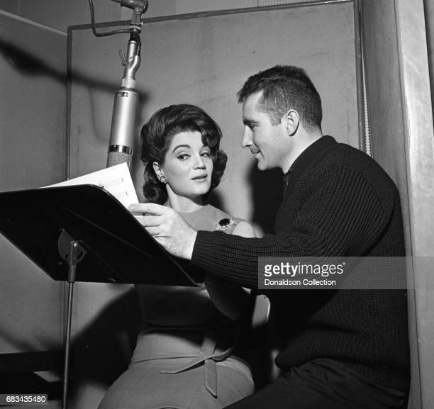 Entertainer Connie Francis records in the studio with Freddy Quinn at MGM on January 4 1963 in New York