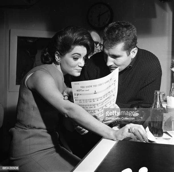 Entertainer Connie Francis records the song 'You Know You Don't Want Me' in the studio with Freddy Quinn at MGM on January 4 1963 in New York