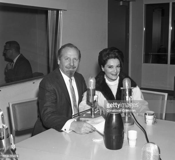 Entertainer Connie Francis with musician on NBC Radio Central Studio A on May 31 1966 in New York