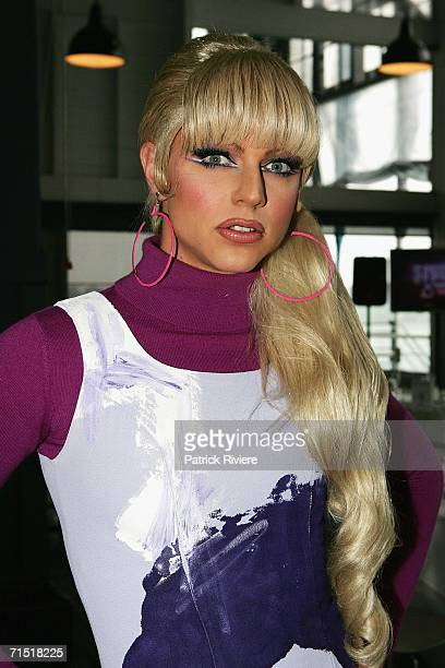 Entertainer Courtney Act attends the 'Studio A With Simon Burke' show launch at The Wharf Restaurant on July 26 2006 in Sydney Australia