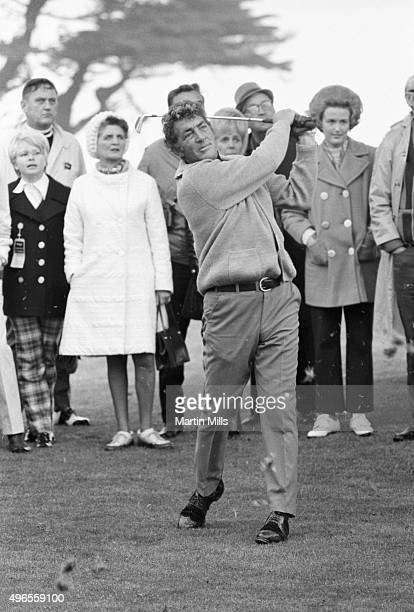 Entertainer Dean Martin poses for a photo during the 29th Annual Bing Crosby National ProAm Golf Tournament and Clambake Weekend at Pebble Beach on...