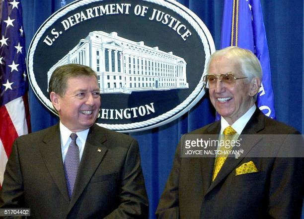 TV entertainer Ed McMahon participates with US Attorney General John Ashcroft in a press conference to promote the National Neighborhood Watch...